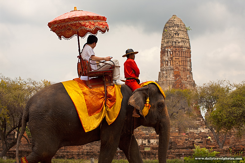 Tourists Take Elephant Ride Around Sites In Old Thai Capitol - Ayutthaya, Thailand - Daily Travel Photos
