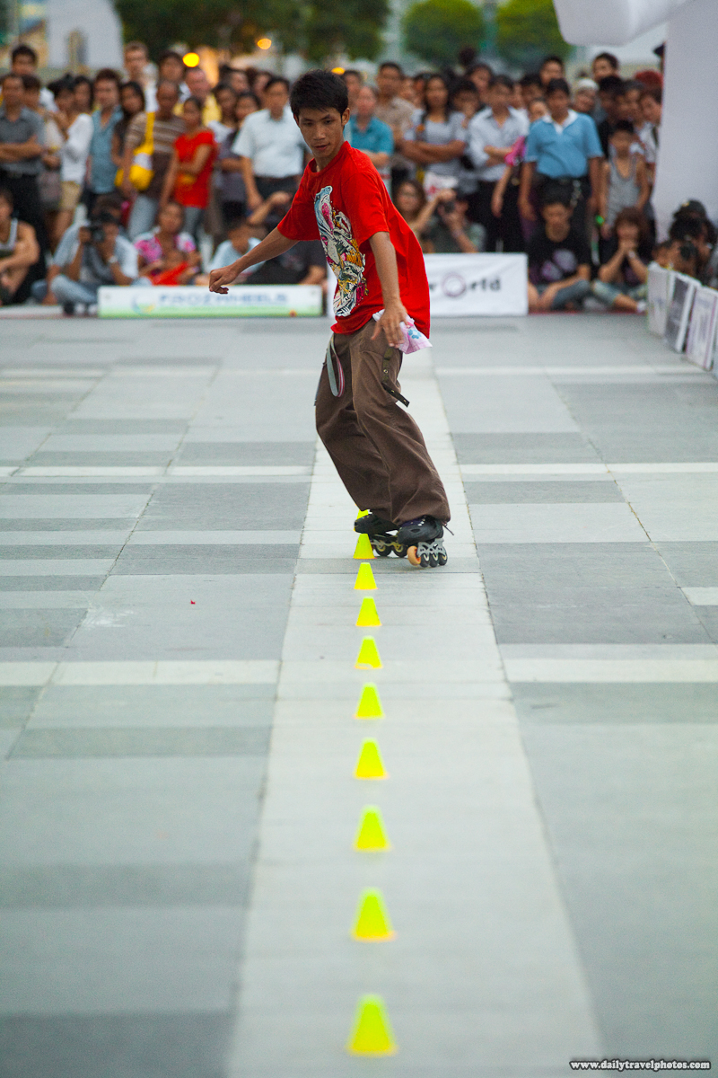 World Inline Skating Slalom Contest Straight Line Central World - Bangkok, Thailand - Daily Travel Photos