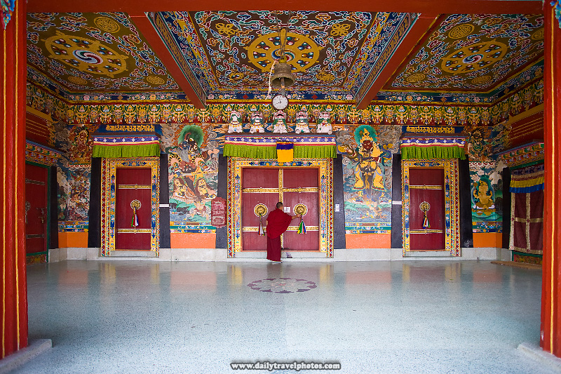 Monk Locks Doors Rumtek Monastery Vestibule - Gangtok, Sikkim, India - Daily Travel Photos