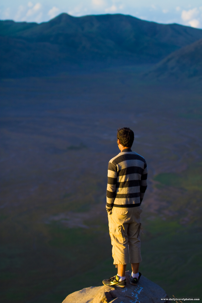 Canadian Tourist on Edge Overlooking Caldera near Mount Bromo - Gunung Bromo, Java, Indonesia - Daily Travel Photos