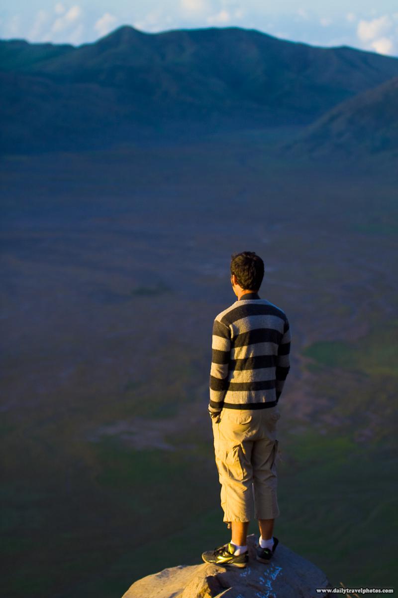 Canadian Tourist on Edge Overlooking Caldera near Mount Bromo - Gunung Bromo, Java, Indonesia - Daily Travel Photos