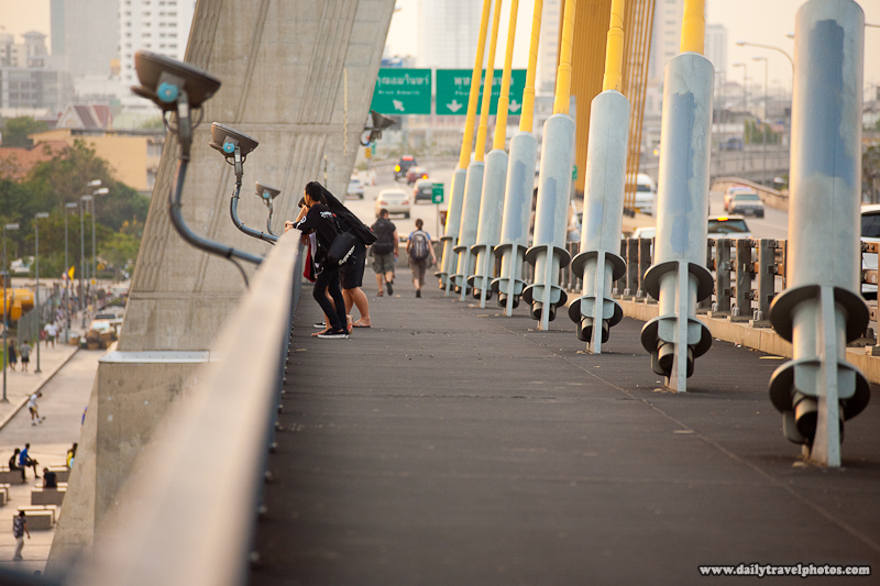 Pedestrian Deck and Suspension Cables of the Rama VIII Bridge - Bangkok, Thailand - Daily Travel Photos