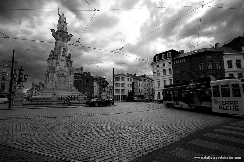 Marnixplaats Square 8 Street Intersection Black White - Antwerp, Belgium - Daily Travel Photos