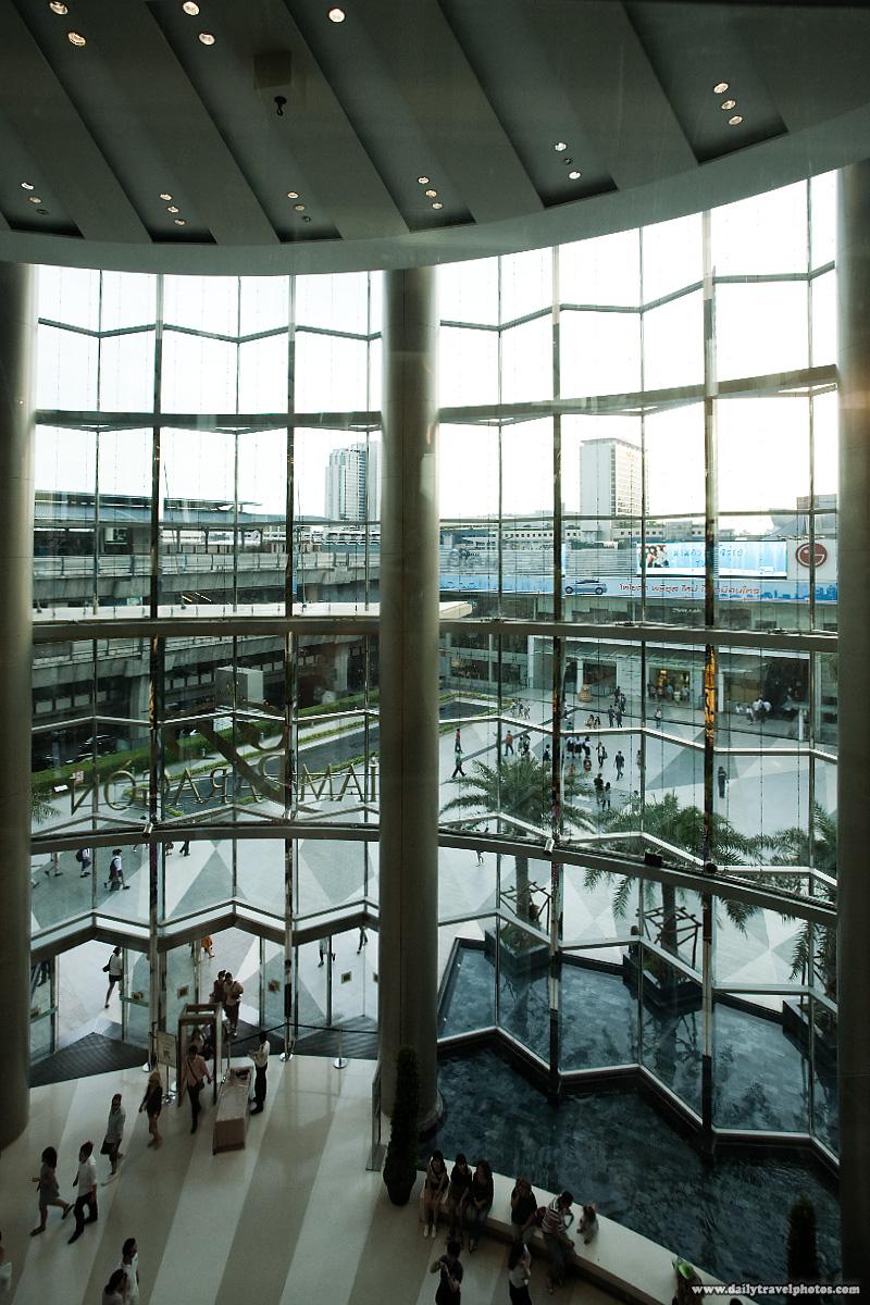 Paragon Mall Large Glass Atrium Entrance High Angle View - Bangkok, Thailand - Daily Travel Photos