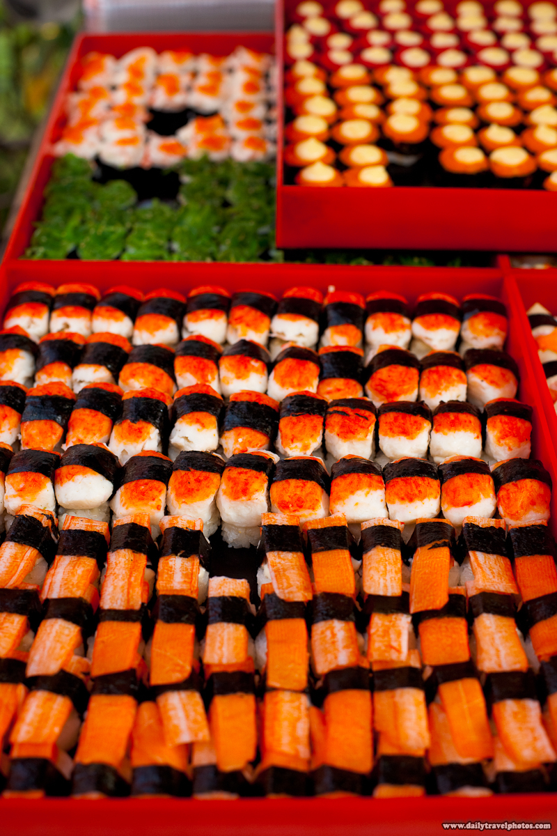 Street Cart Stall Selling Sushi Sashimi - Bangkok, Thailand - Daily Travel Photos