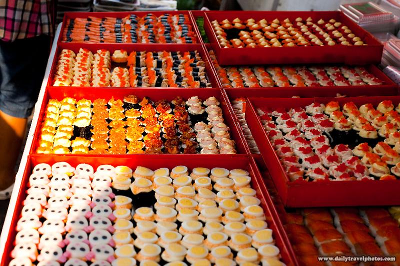 Direct Sunlight Hitting Sashimi Sushi Street Food Cart - Bangkok, Thailand - Daily Travel Photos