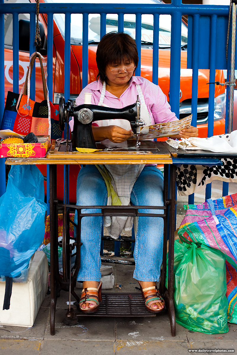 Street Seamstress Service Sewing Machine - Bangkok, Thailand - Daily Travel Photos