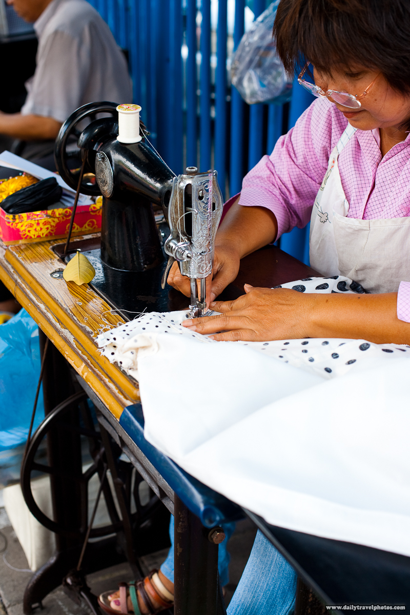 Closeup Street Seamstress Sewing Machine Hemming Dress - Bangkok, Thailand - Daily Travel Photos