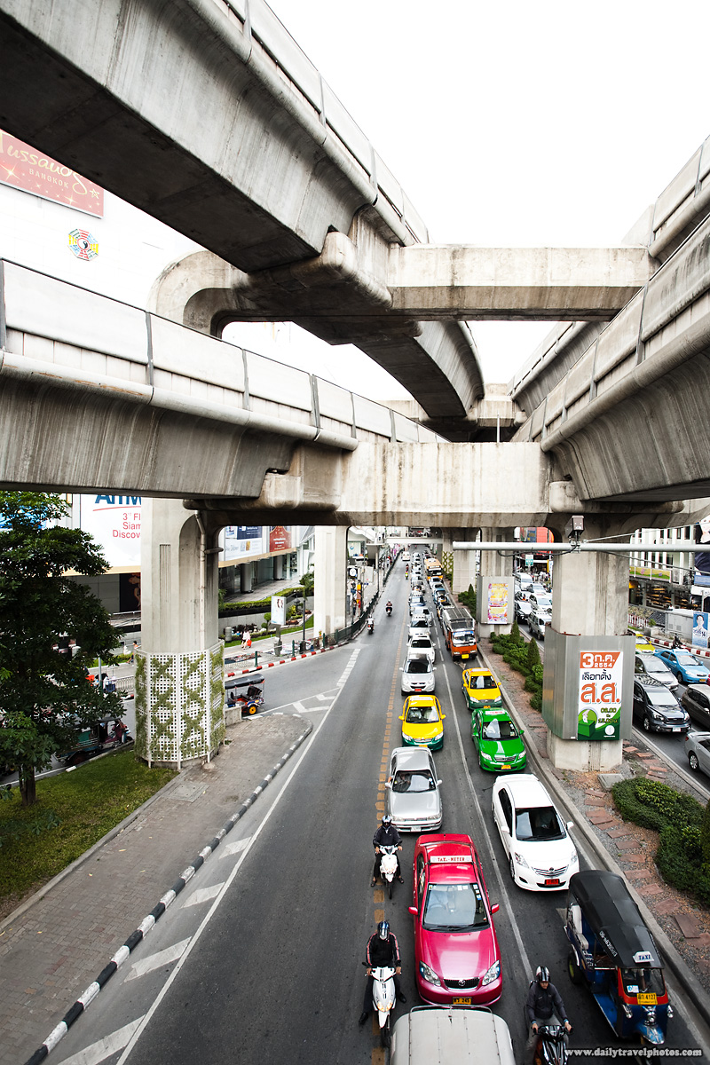 Downtown Traffic MBK Siam Area Under Skytrain BTS - Bangkok, Thailand - Daily Travel Photos