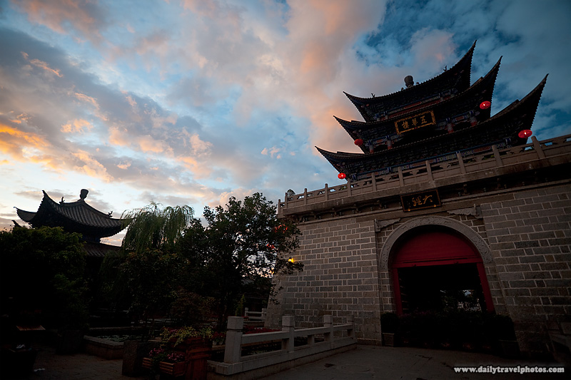Traditional Chinese Pagoda Gate and Architecture at Sunrise - Dali, Yunnan, China - Daily Travel Photos