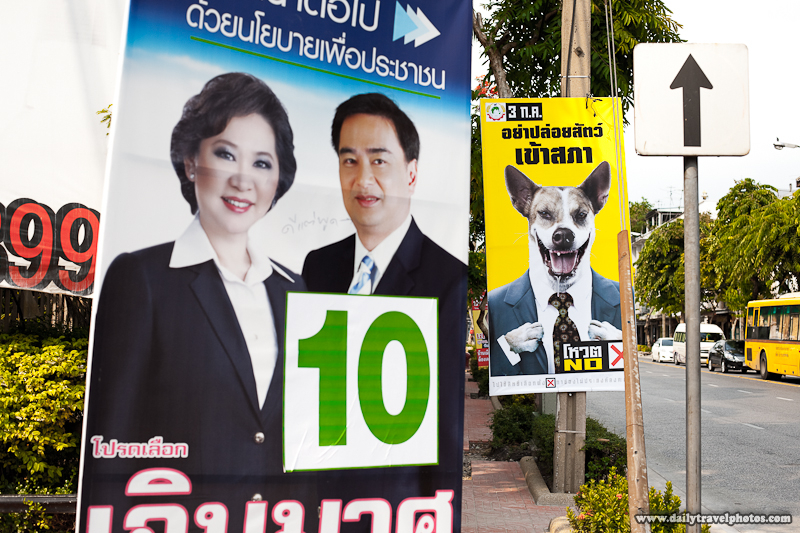 Campaign Posters For Upcoming Election Featuring Dog In Suit - Bangkok, Thailand - Daily Travel Photos