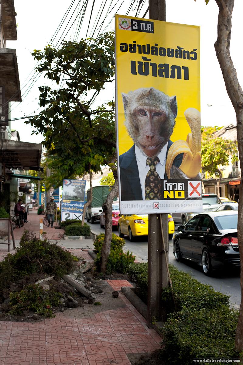 Monkey Holding Banana Campaign Poster Elections - Bangkok, Thailand - Daily Travel Photos