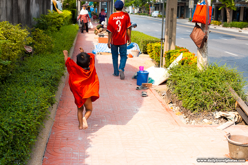 Young Excited Thai Boy In Oversized Shirt Nearly Displays His Shameful Bits - Bangkok, Thailand - Daily Travel Photos