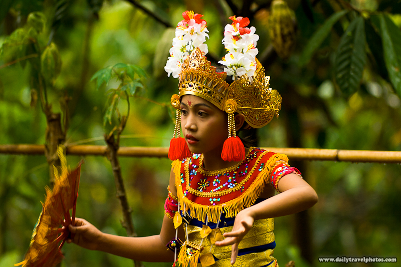 Cute Young Girl Dancer Traditional Balinese Dance - Unknown Village, Bali, Indonesia - Daily Travel Photos