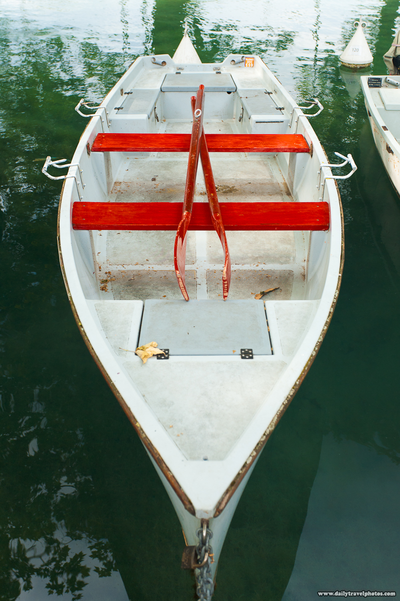 Rental Rowboat Red Oars and Seats on Lake Annecy - Annecy, Haute-Savoie, France - Daily Travel Photos