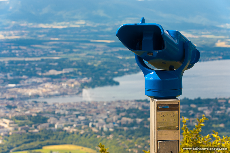 Coin Operated Binoculars And Aerial View of Lake Geneva and City from the Saleve - Geneva, Switzerland - Daily Travel Photos