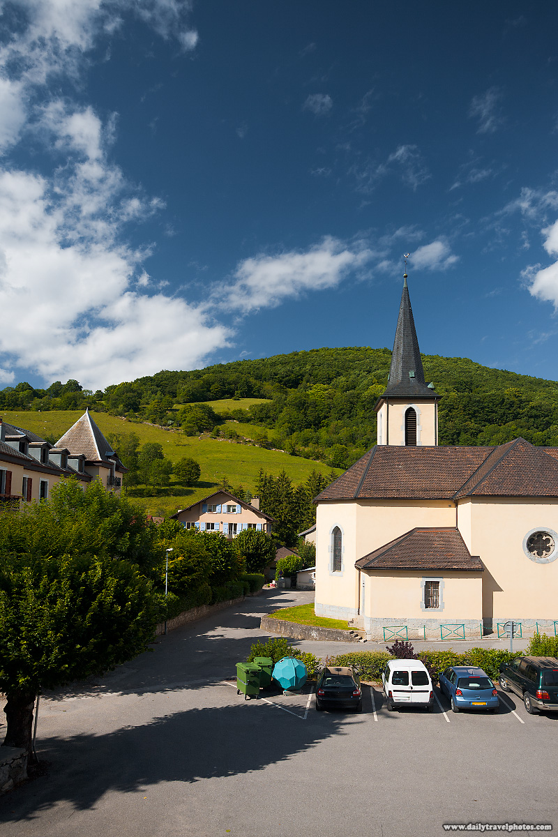 Typical Swiss Architecture Church in Village in Alps - Mornex, France - Daily Travel Photos