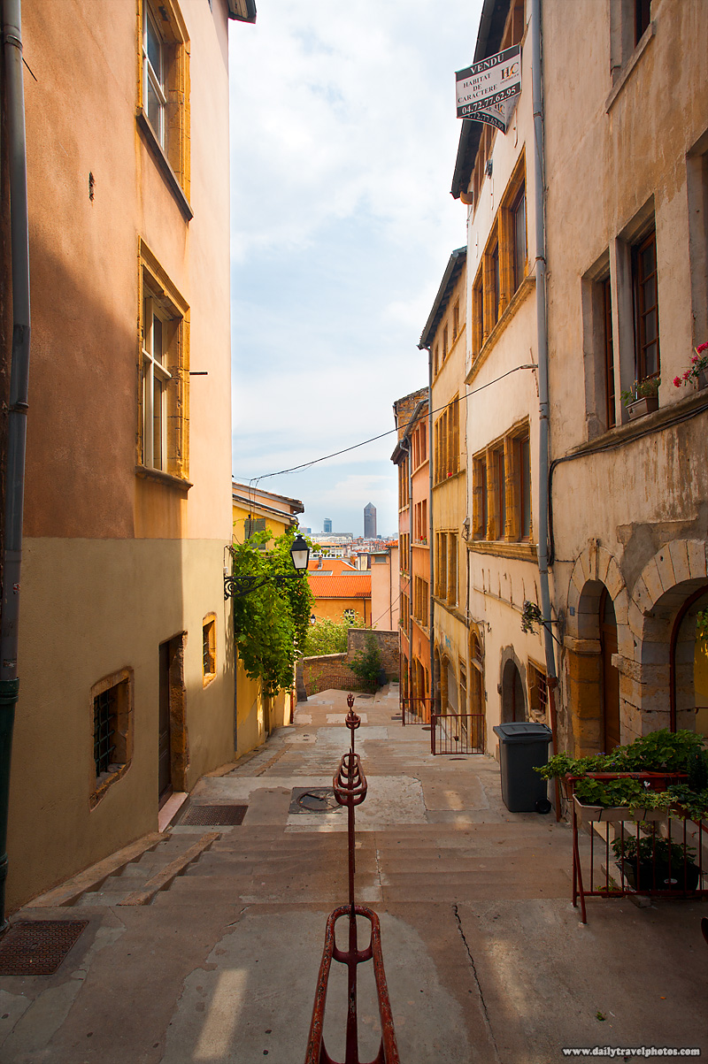 Stairs Leading Through Preserved Buildings in Old (Vieux) Lyon - Lyon, France - Daily Travel Photos