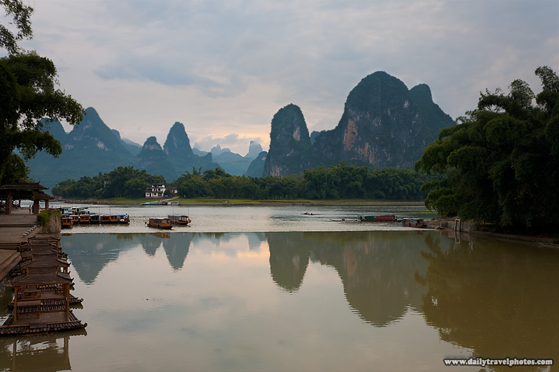 Tourist Boats on River Among Karst Scenery - Xingping, Guanxi, China - Daily Travel Photos