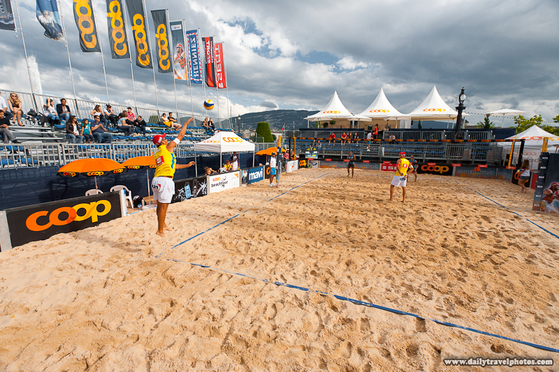 Player Jump Serves During Coop Beach Volleyball Men's Tournament - Geneva, Switzerland - Daily Travel Photos