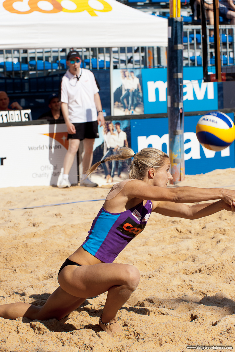 Women's Beach Volleyball Player Returns a Spiked Ball - Geneva, Switzerland - Daily Travel Photos