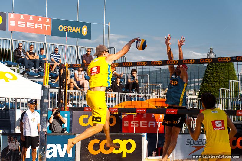 Men's Beach Volleyball Spiking Ball with Full Contact - Geneva, Switzerland - Daily Travel Photos