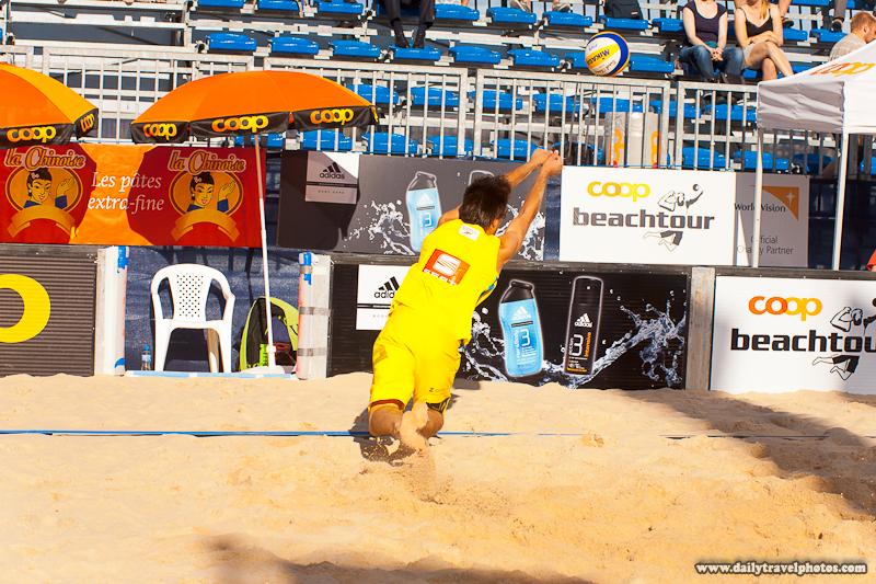 Coop Men's Beach Volleyball Player Dives to Retrieve an Errant Pass - Geneva, Switzerland - Daily Travel Photos