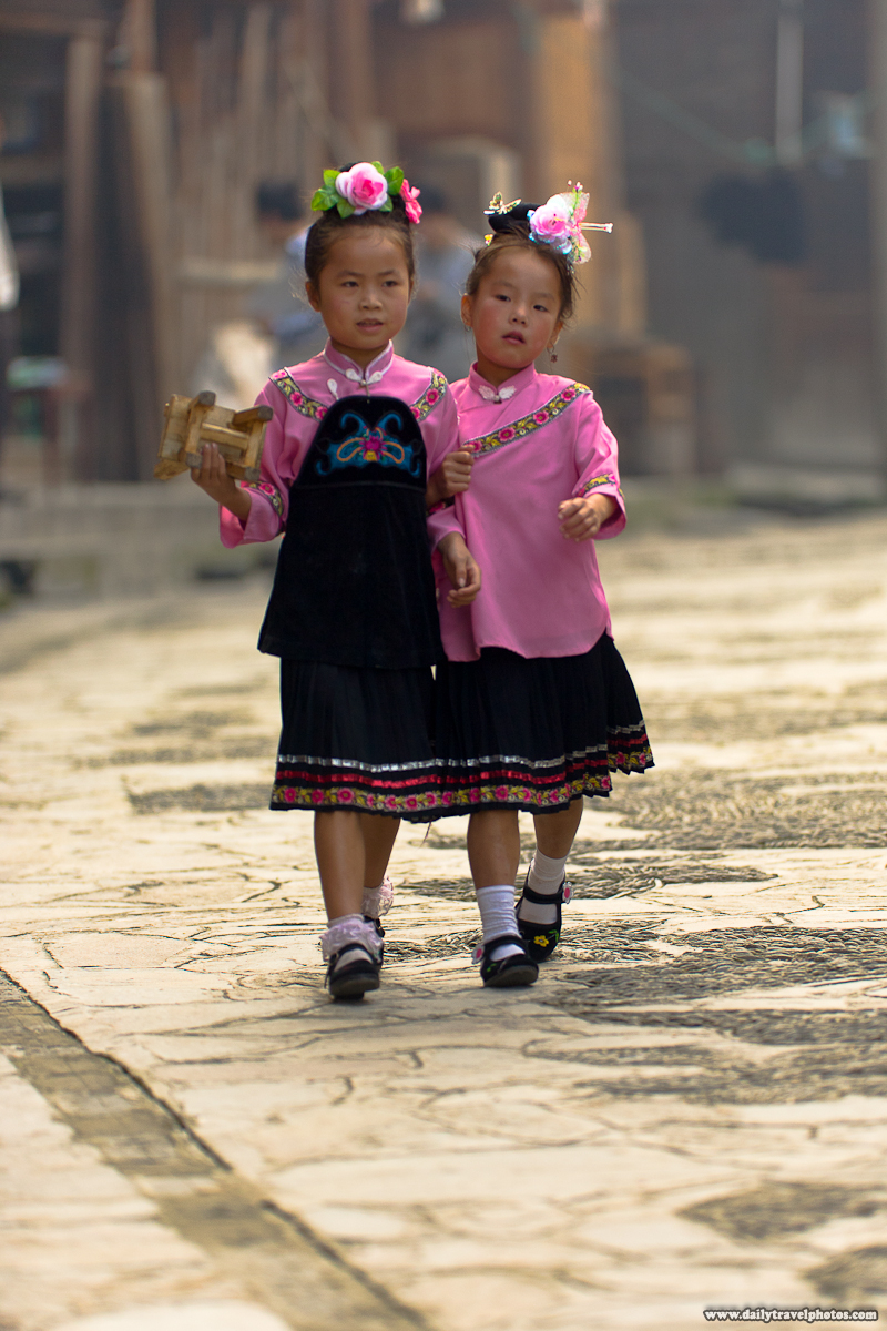 Young Miao Ethnic Minority Children Walk in Traditional Festival Outfits - Xijiang, Guizhou, China - Daily Travel Photos