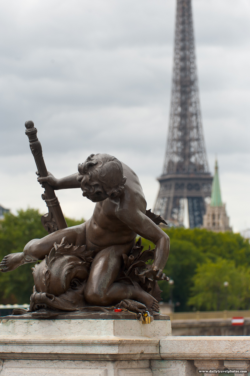 Tour Eiffel (Tower) and Statue on the Pont Alexandre III (Bridge)  - Paris, France - Daily Travel Photos