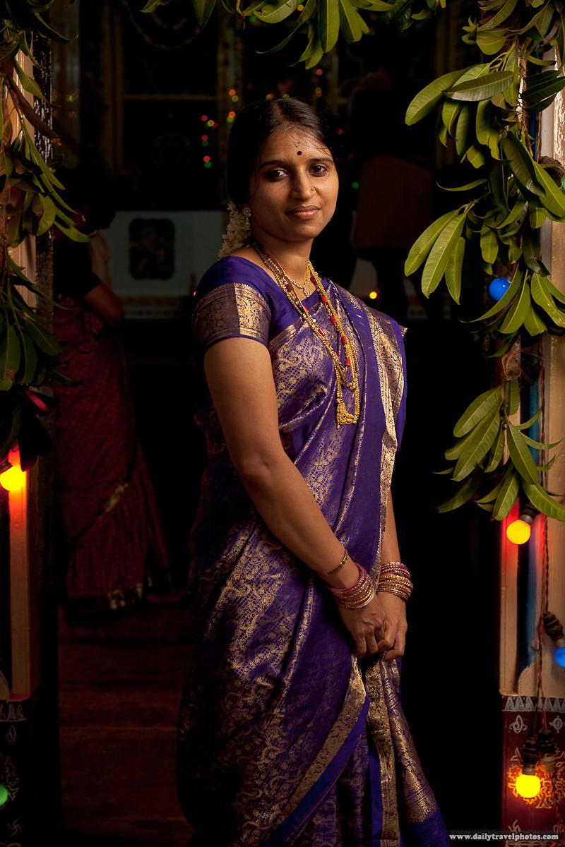 Hindu Indian Woman Standing In Arch of Temple Doorway - Gokarna, Karnataka, India - Daily Travel Photos