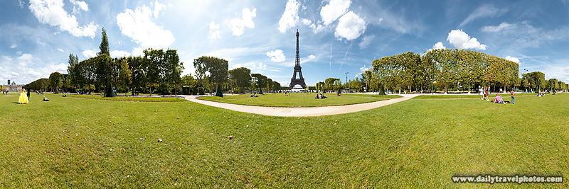 User Controlled Flash Panorama of Eiffel Tower from Grass Park - Paris, France - Daily Travel Photos