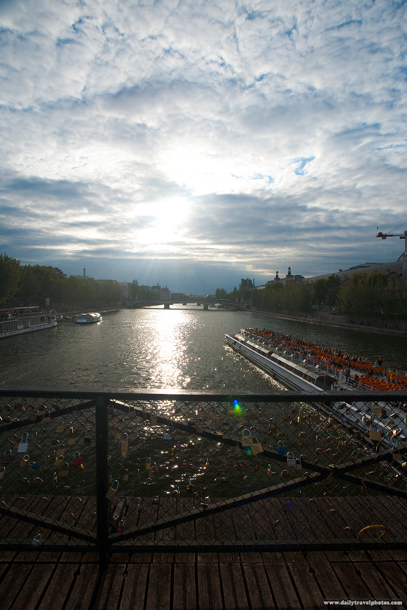 Sun Setting on the Seine River With Love Locks Attached to Pont Des Arts - Paris, France - Daily Travel Photos
