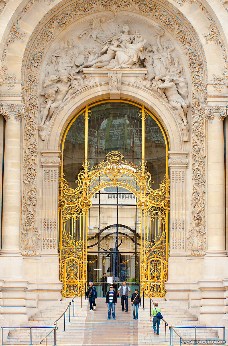 Large Ornate Petit Palais Entrance Dwarfs People Entering - Paris, France - Daily Travel Photos
