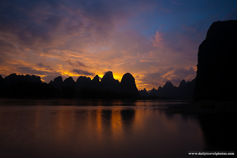Karst Landscape Scenery Sunset Mountains - Xingping, Guanxi, China - Daily Travel Photos