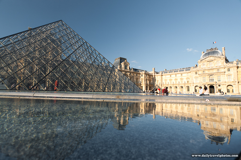 Louvre Courtyard Reflected Pyramid in Water Fountain - Paris, France - Daily Travel Photos