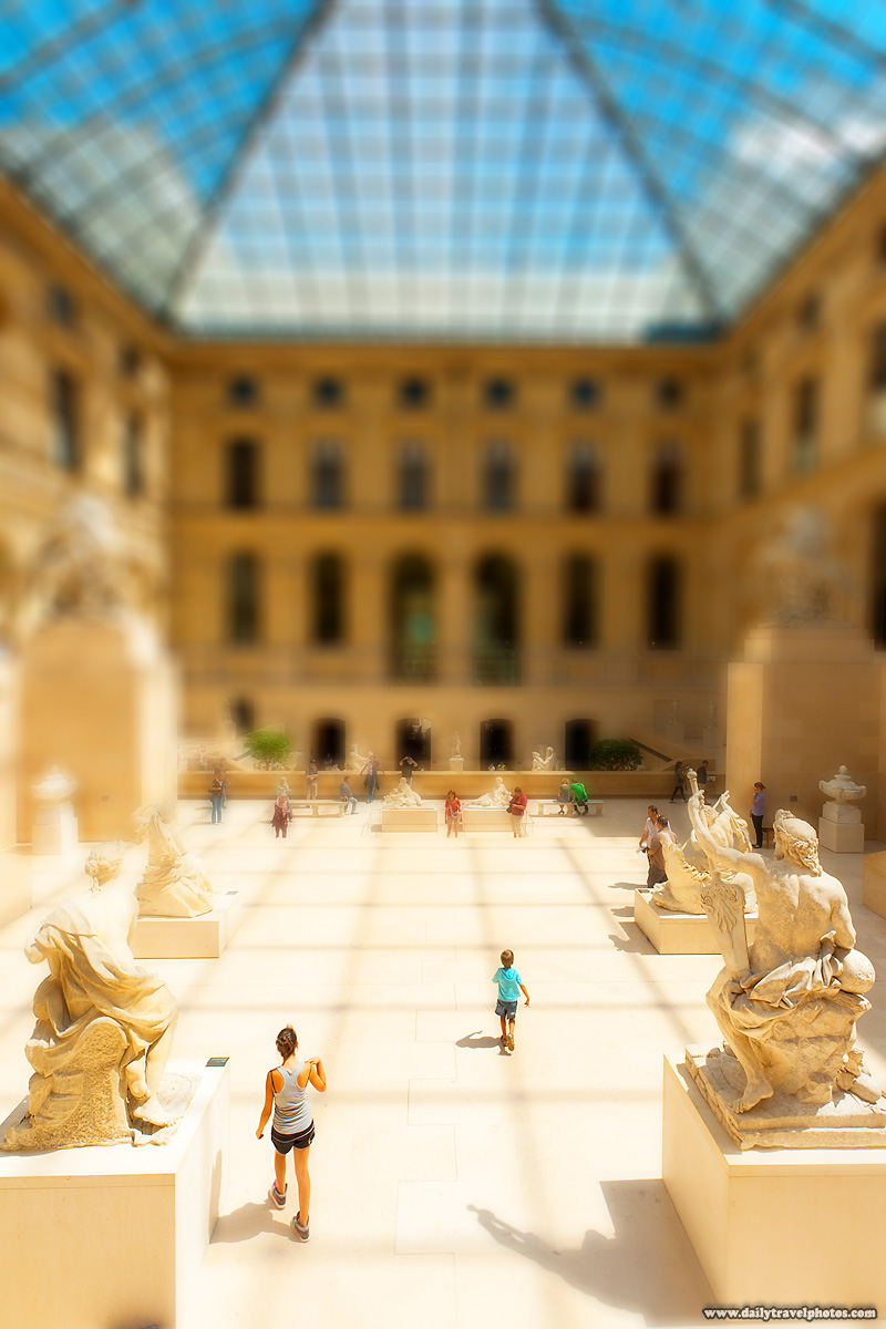 Louvre Museum Greek Sculptures Hall (Cour Marly) Fake Tilt Shift Effect - Paris, France - Daily Travel Photos