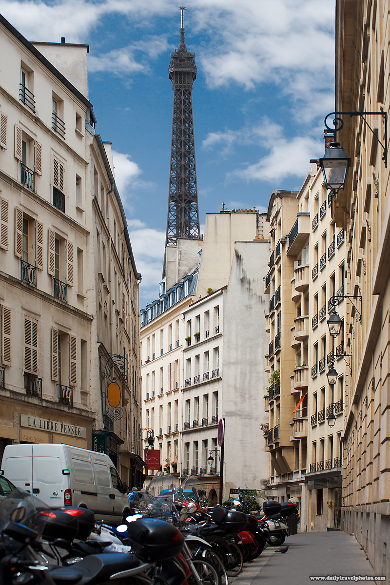 Eiffel Tower Looms Over Residential Buildings - Paris, France - Daily Travel Photos