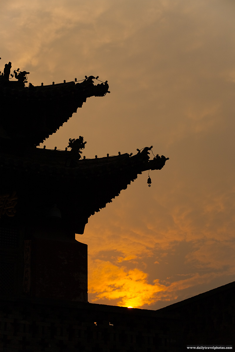 Typical Chinese Architecture Eaves Silhouetted Sunset Sky - Yangshuo, Guanxi, China - Daily Travel Photos