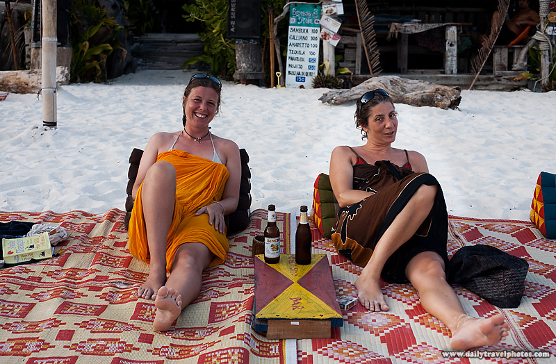 Lovely Italian Female Travelers Sit at Beach Cafe - Ko Lipe, Thailand - Daily Travel Photos