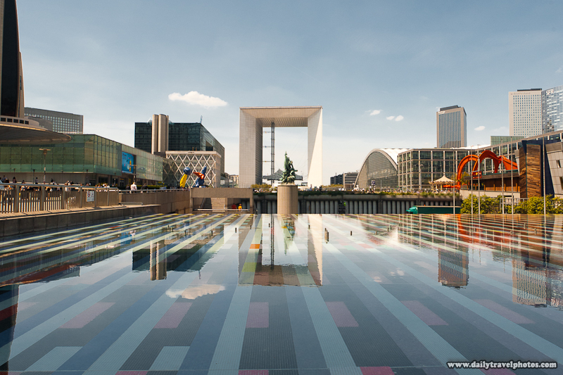 Grande Arche de La Defense Reflected in Fountain - Paris, France - Daily Travel Photos