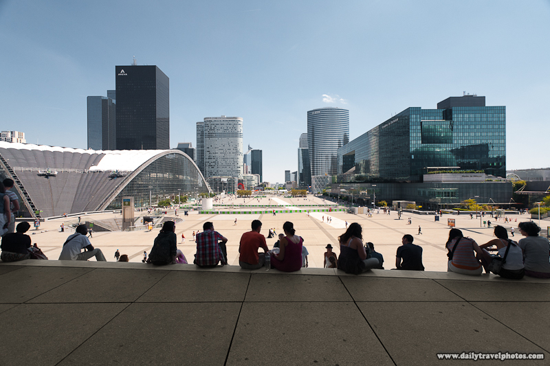 View of La Defense from base of Grande Arche - Paris, France - Daily Travel Photos