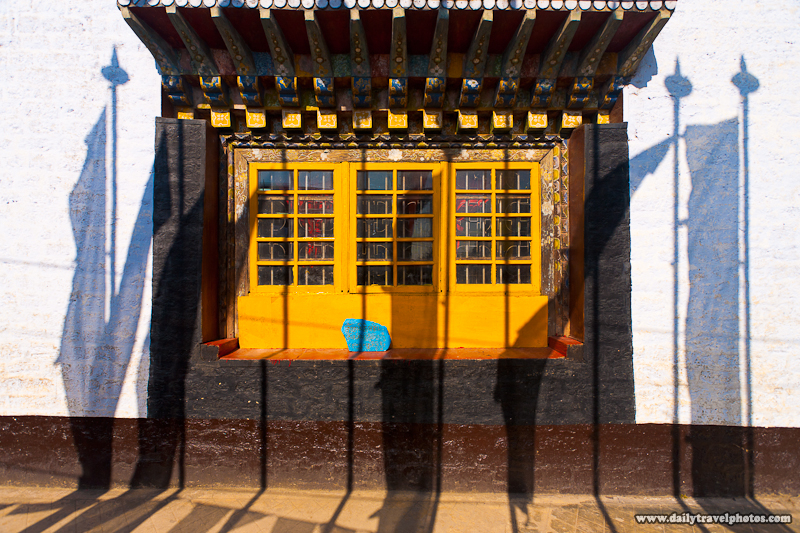 Pemayagtse Buddhist Monastery Window Wall Flags - Pelling, Sikkim, India - Daily Travel Photos