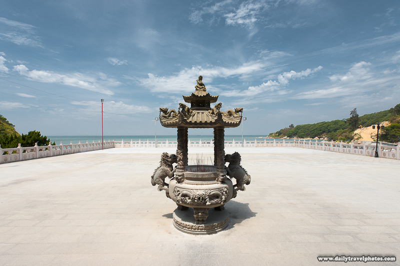 Magang Mazu Temple Incense Urn Courtyard Ocean - Nangan, Matsu Islands, Taiwan - Daily Travel Photos