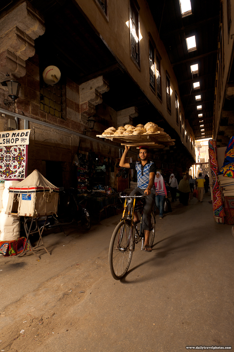 Bicycle Bread Delivery Guy Biking Through Tentmaker Bazaar - Cairo, Egypt - Daily Travel Photos