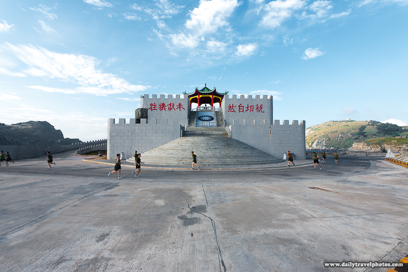 Military Men Run Around Zhongzhu Embankment Thanksgiving Pavilion Memorial - Dongyin, Matsu Islands, Taiwan - Daily Travel Photos