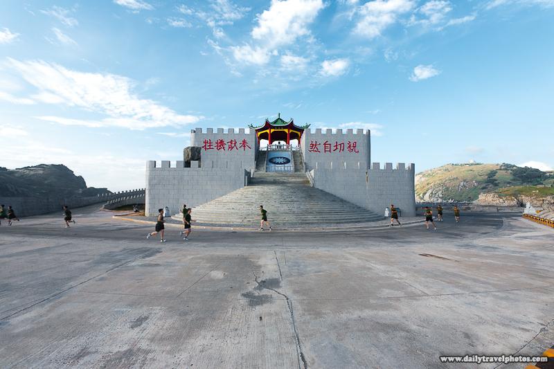 Military Men Run Around Zhongzhu Embankment Thanksgiving Pavilion Memorial - Dongyin, Matsu Islands, Taiwan - Daily Travel Photos