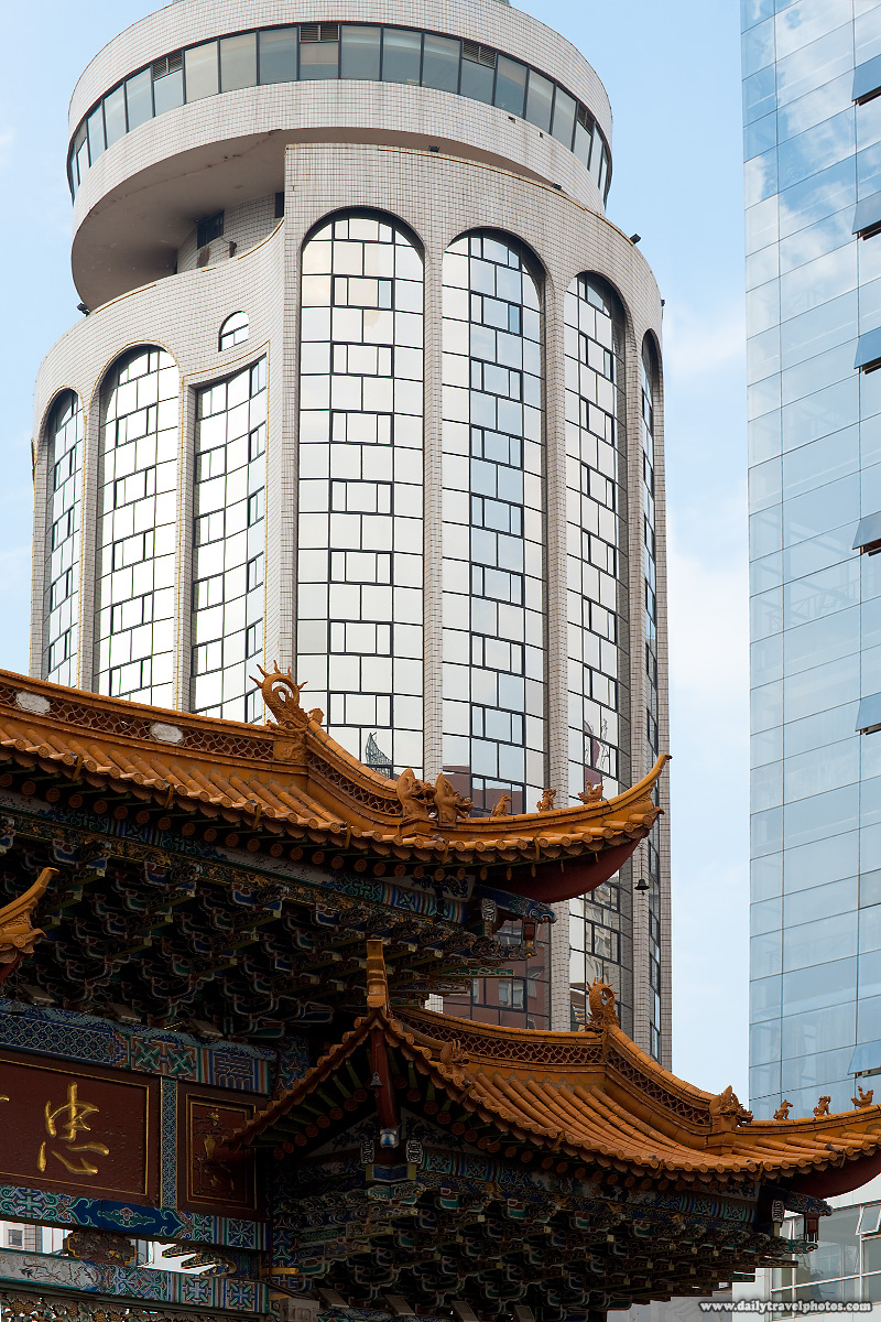Downtown Modern Building Traditional Gateway Contrast - Kunming, Yunnan, China - Daily Travel Photos