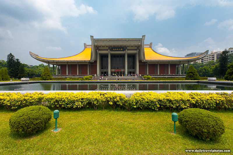 Front Facade of Sun Yat Sen Memorial Hall and Water Fountain - Taipei, Taiwan - Daily Travel Photos