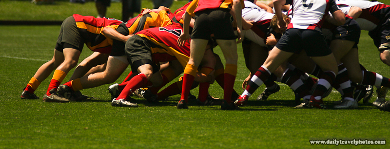 Rugby Scrum Lower Half - Palo Alto, California, USA - Daily Travel Photos