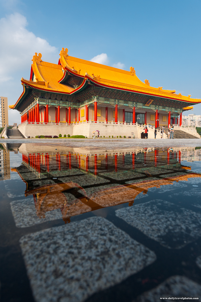 National Concert Hall Reflected in Puddle of Rain - Taipei, Taiwan - Daily Travel Photos
